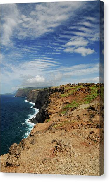 Kalaupapa Cliffs Canvas Print - Portrait Of North Coast Molokai Sea Cliffs With Ripple Cloud Sky by Reimar Gaertner