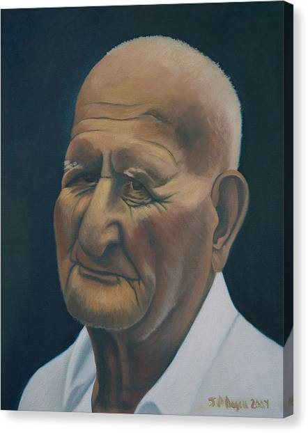 Portrait Of Old Man In St. Louis Canvas Print by Stephen Degan