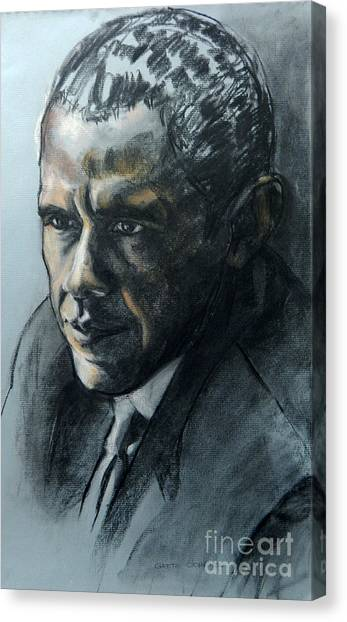Charcoal Portrait Of President Obama Canvas Print