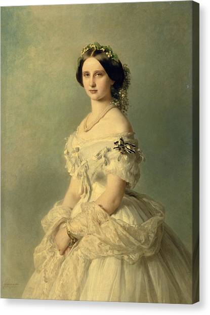 Wedding Gown Canvas Print - Portrait Of Princess Of Baden by Franz Xaver Winterhalter
