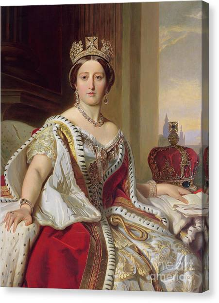 Female Canvas Print - Portrait Of Queen Victoria by Franz Xavier Winterhalter