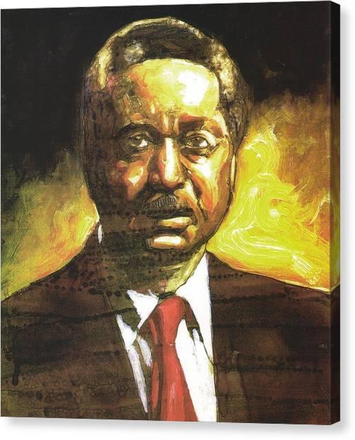 Portrait Of Rev. Leon Sullivan Canvas Print by Michael Facey