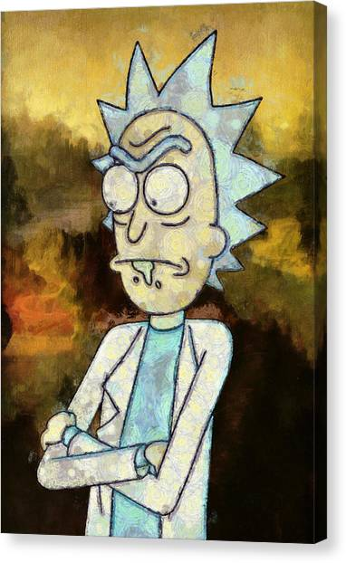 Canvas Print featuring the painting Portrait Of Rick by Rick And Morty