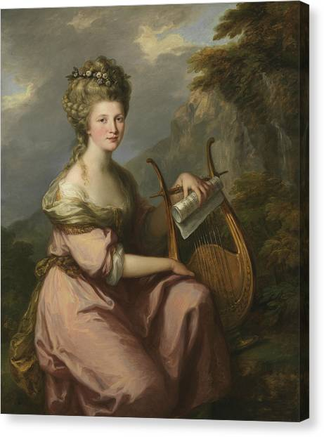 Neoclassical Art Canvas Print - Portrait Of Sarah Harrop As A Muse by Angelica Kauffman