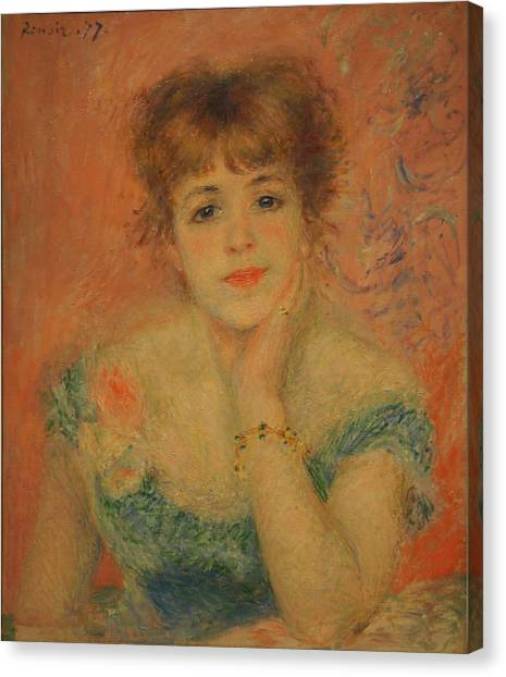 Portrait Of The Actress Jeanne Samary Canvas Print by Pierre Auguste Renoir