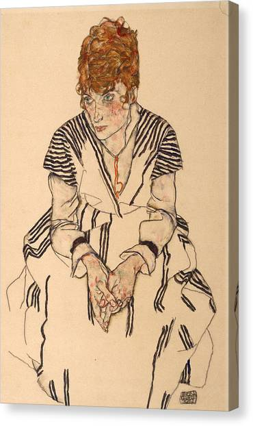 Adele Canvas Print - Portrait Of The Artist's Sister-in-law, Adele by Egon Schiele