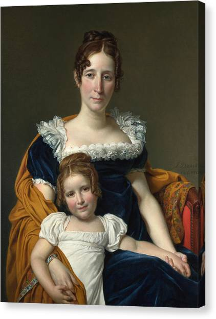 Neoclassical Art Canvas Print - Portrait Of The Countess Vilain Xiiii And Her Daughter Louise by Jacques-Louis David