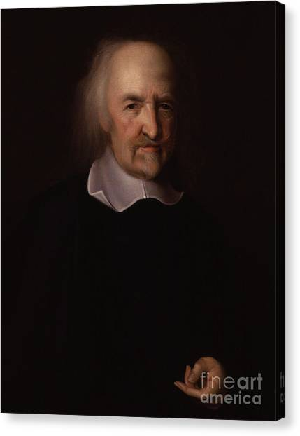 Philosopher Canvas Print - Portrait Of Thomas Hobbes by John Michael Wright