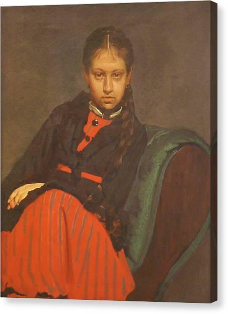 Portrait Of Vera Shevtsova Canvas Print by Ilya Repin