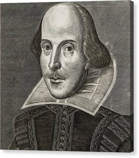 English And Literature Canvas Print - Portrait Of William Shakespeare by Martin the elder Droeshout
