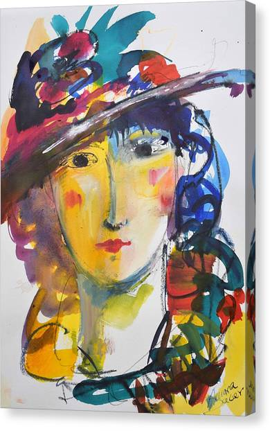 Portrait Of Woman With Flower Hat Canvas Print