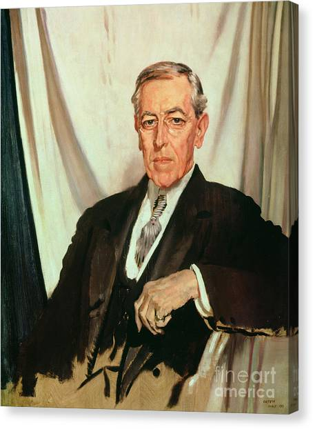 Princeton University Canvas Print - Portrait Of Woodrow Wilson by Sir William Orpen