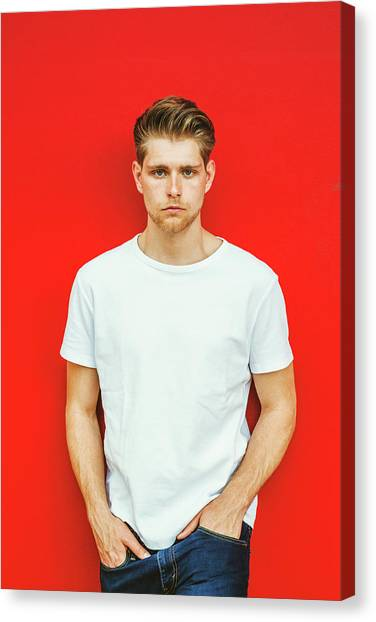 Portrait Of Young Handsome Man Canvas Print