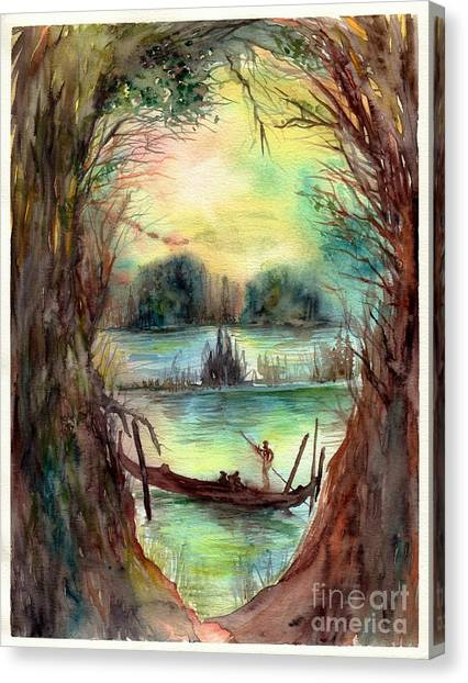 Gothic Art Canvas Print - Portrait With A Boat by Suzann's Art