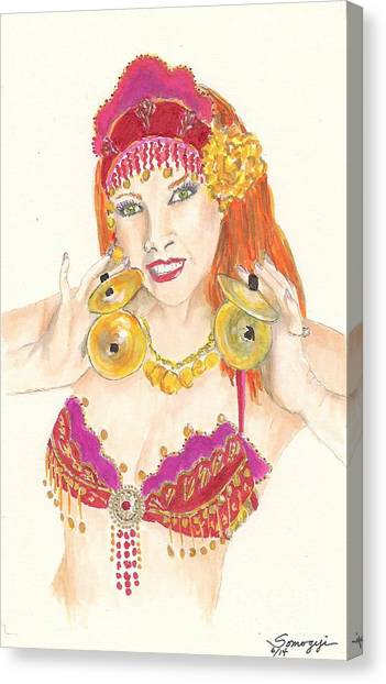 Portrait Of The Artist Playing Zills -- Belly Dancer Self-portrait Canvas Print