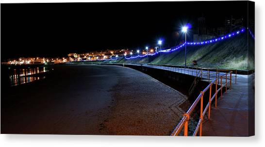 Portrush Seafront At Night Canvas Print