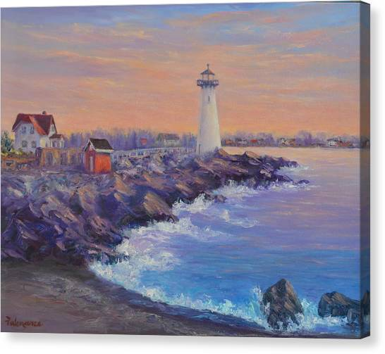 Portsmouth Lighthouse Sunset Peaceful  Coastal Painting Canvas Print