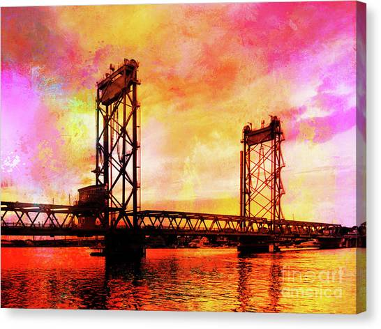 Portsmouth Memorial Bridge Abstract At Sunset Canvas Print