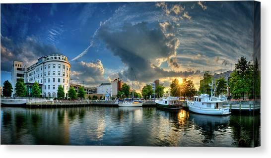 Canvas Print featuring the photograph Portsmouth Sunset by Williams-Cairns Photography LLC