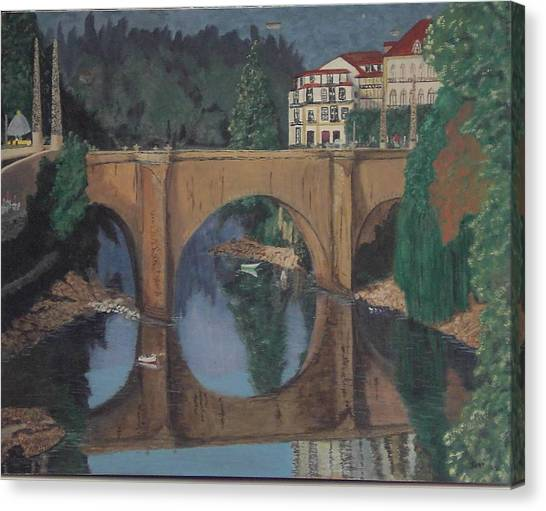Portuguese River Bridge Canvas Print