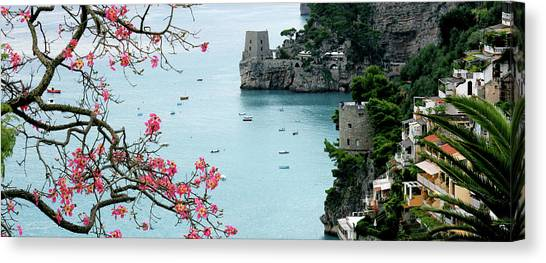 Positano Fortress And Dogwood Canvas Print