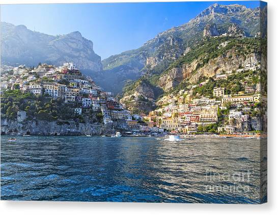 World Heritage Site Canvas Print - Positano Harbor View by George Oze