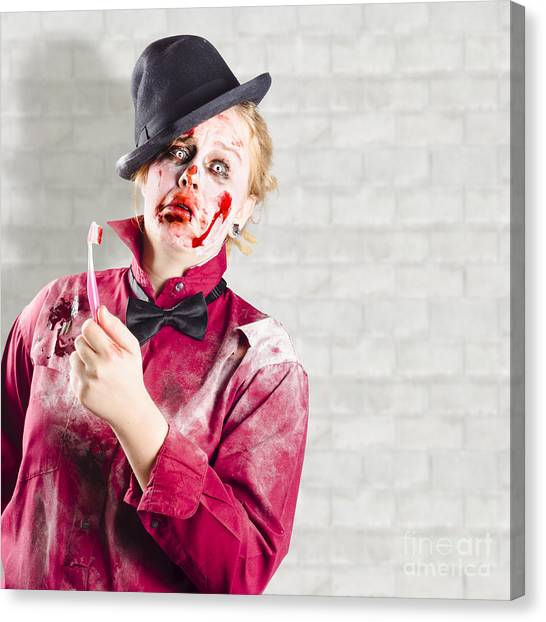 Cavity Canvas Print - Possessed Girl With Bloody Toothbrush. Gum Disease by Jorgo Photography - Wall Art Gallery