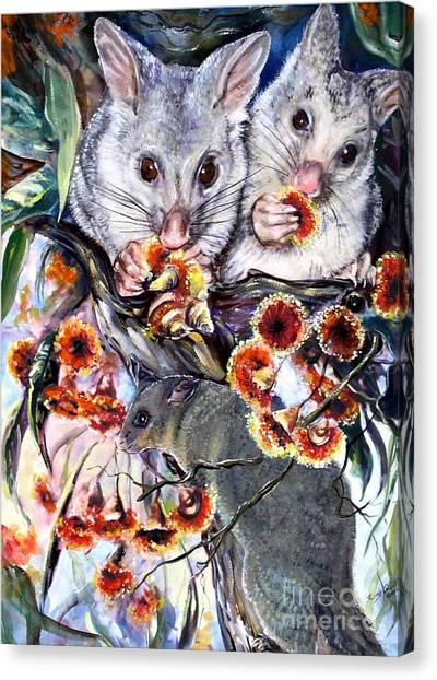 Possum Family Canvas Print