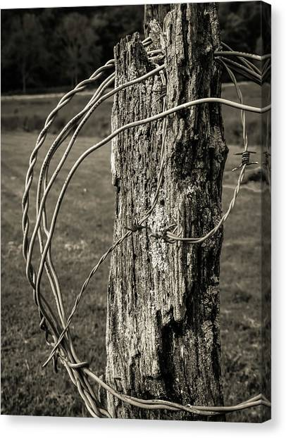 Canvas Print - Post And Barbed Wire by Elijah Knight