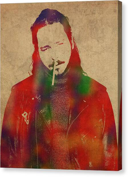 Rocker Canvas Print - Post Malone Rap Rocker Watercolor Portrait by Design Turnpike