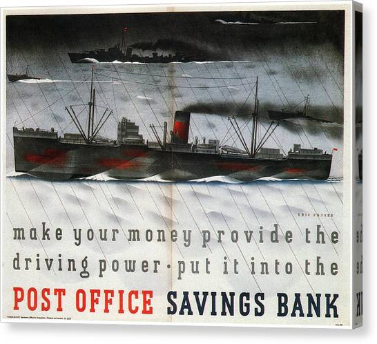 Post-modern Art Canvas Print - Post Office Savings Bank - Steamliner - Retro Travel Poster - Vintage Poster by Studio Grafiikka