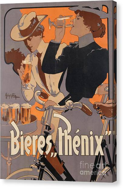 Bicycle Canvas Print - Poster Advertising Phenix Beer by Adolf Hohenstein