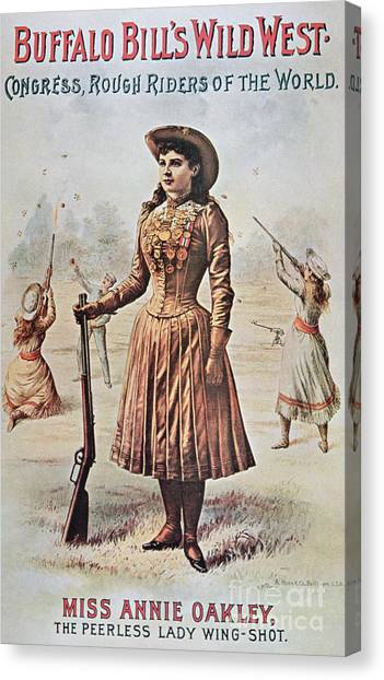 Buffalo Bills Canvas Print - Poster For Buffalo Bill's Wild West Show With Annie Oakley by American School