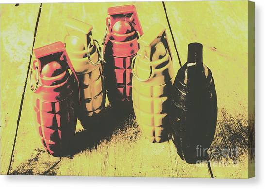 Bombs Canvas Print - Posterized Granade Art by Jorgo Photography - Wall Art Gallery