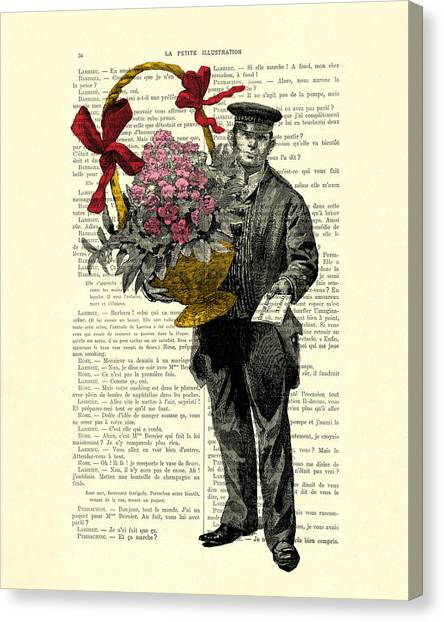 Wedding Gift Canvas Print - Postman Delivering Bouquet Of Flowers by Madame Memento