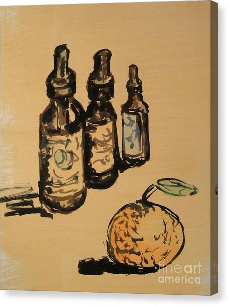 Canvas Print featuring the painting Potions by Maria Langgle