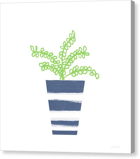 Succulent Canvas Print - Potted Plant 1- Art By Linda Woods by Linda Woods