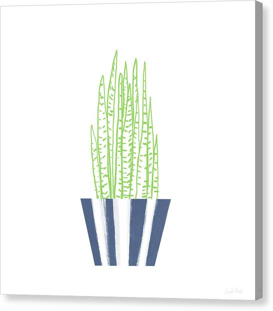 Plant Canvas Print - Potted Succulent 3- Art By Linda Woods by Linda Woods