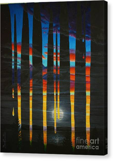 Poured Sunset On A Moonlit Night Canvas Print by Don Evans