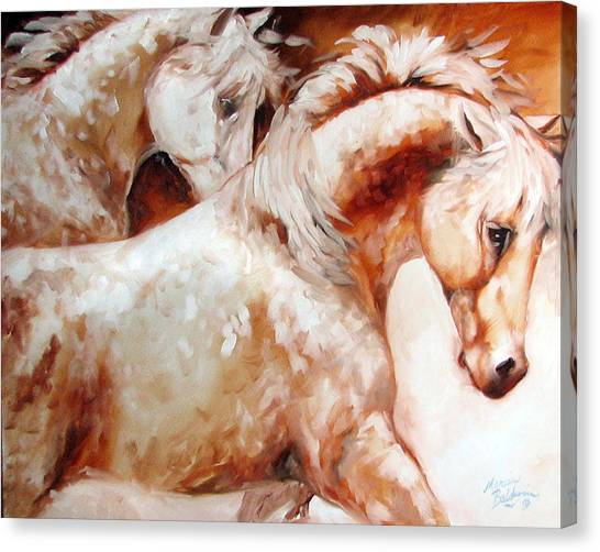 Power By Two Equine Original Canvas Print by Marcia Baldwin