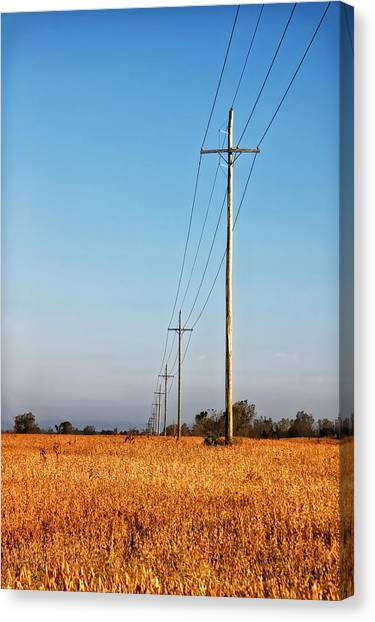 Canvas Print featuring the photograph Power Lines At Sunrise by Lars Lentz