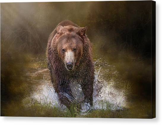Power Of The Grizzly Canvas Print