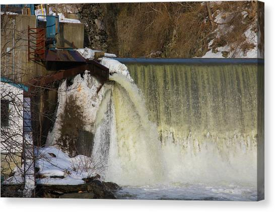 Power Station Falls On Black River One Canvas Print