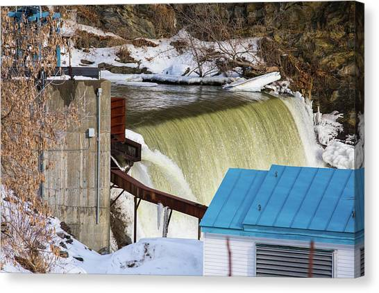 Power Station Falls On Black River Two Canvas Print