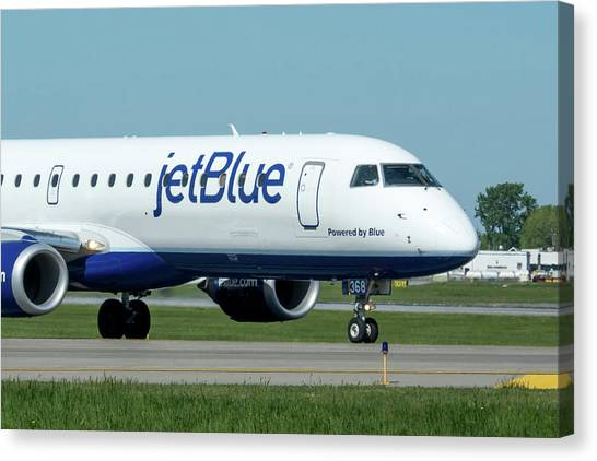 Jetblue Canvas Print - Powered By Blue by Guy Whiteley