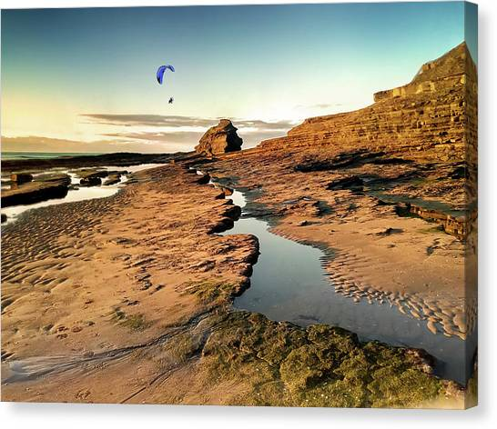 Powered Paraglider Over Bundoran Main Beach At Sunset Canvas Print