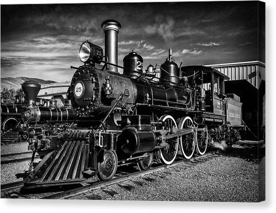 Steam Trains Canvas Print - Powerful 25 In Black And White by Garry Gay