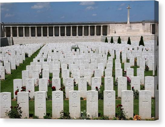 Green Travelpics Canvas Print - Pozieres British Cemetery by Travel Pics