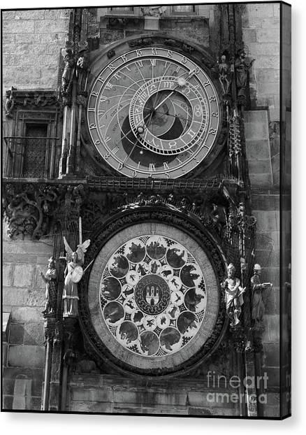 Prague Astronomical Clock In B/w Canvas Print