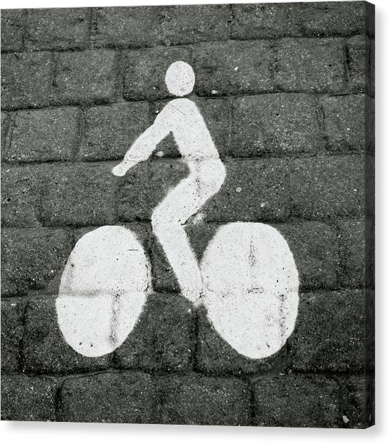 Cyclist Canvas Print - Prague Bike Lane-  By Linda Woods by Linda Woods